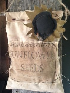 Fall Primitive Sunflower Seed Hanging Bag With Label