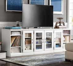 Printer's Glass Door & Bookcase TV Stand, Large, Artisanal White stain