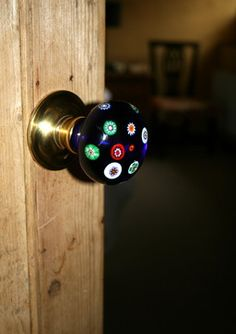 Cobalt blue millefiori glass door knobs by Merlin Glass