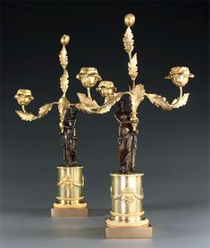 Pair of French Empire Figural Candelabra . Candelabra, Candlesticks, French Empire, Lamps, Place Card Holders, Candle Holders, Lightbulbs, Chandelier, Light House