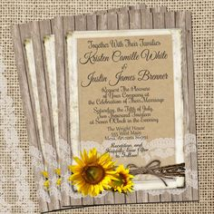 Rustic and Lace Wedding Invitation Sunflowers by WallflowerEvents, $15.00