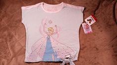 Disney Frozen Elsa Tshirt Side Tie Jumping Beans Girls Top Blue White Toddler 2T #JumpingBeans