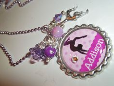Personalized Purple or color of choice Gymnastics gymnast Bottle Cap Bottlecap necklace, flower girl coach teen birthday gift, party favors. $14.00, via Etsy.