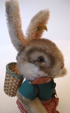 Steiff Rabbit vintage doll with clothes and basket
