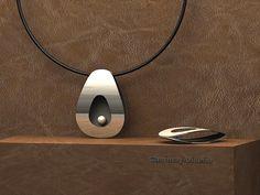 Colgante de plata y perla cultivada, joyeria contemporanea.408-c