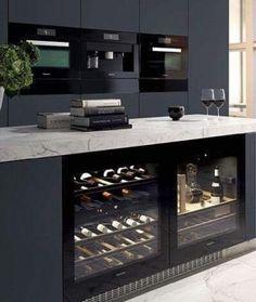 Cuisine cave a vin Miele kitchen interior Modern Kitchen Design, Interior Design Kitchen, Home Interior, Kitchen Living, Kitchen Decor, Kitchen Grey, Rustic Kitchen, Marbel Kitchen, Marble Island Kitchen