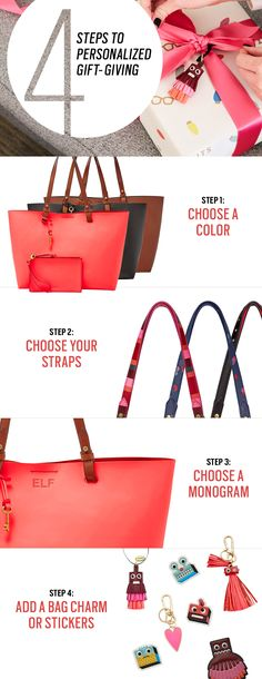 This holiday's must-have gift is the only tote bag they'll ever need. Our Rachel leather tote is one of the top holiday handbags for a reason. Customize yours with interchangeable straps, bag charms, embossing and more! Just follow these 4 easy steps to creating a personalized gift everyone will want.