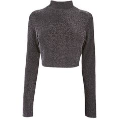 Black Sparkle Crop Top ($14) ❤ liked on Polyvore featuring tops, sweaters, crop top, shirts, jumpers, long-sleeve shirt, long sleeve turtleneck shirts, turtle neck sweater, long sleeve shirts and sparkle sweater