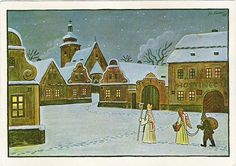 Illustrated by Josef Lada: Saint Nicholas, devil and angel walk 6 December carols in homes, especially in villages. Children who have been badly received by the devil broom and boots in coal and potatoes. Good children receive praise from St. Nicholas and the angel of goodness-candy for boots. Boots, have been a window, had to be cleaned, and the night in which he dealt to children Saint Nicholas-so it was again in cities.