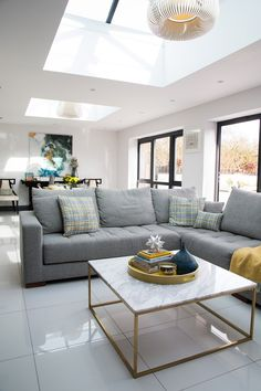 New Living Room Cosy Grey Chairs Ideas Corner Sofa Kitchen, Corner Sofa Living Room, Grey Corner Sofa, New Living Room, Living Room Decor, Open Plan Kitchen Dining Living, Open Plan Kitchen Diner, House Extension Design, Family Room