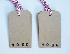 Christmas Gift Tag Hand Stamped Rustic Kraft by WideSkyPapercrafts, £6.00