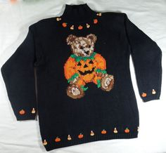 Vintage 1980's Eagle Eye Halloween, Fall, Pumpkin, Teddy Bear Sweater O13-144 #EagleEye