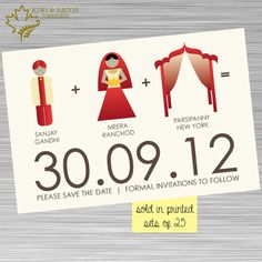 INDIAN SAVE THE DATE Indian Save the Date - Bride Groom Mandap  (available in…