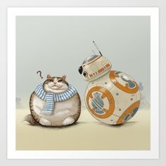 CAT AND DROID Art Print by Tummeow | Society6