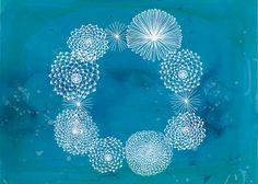 Blue Floral Wreath Print by Paula Mills- sweet william