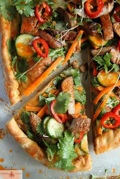 Bahn Mi Pizza by Heather Christo, via Flickr  Vegetarians: Omit pork or substitute with your favorite meat substitute