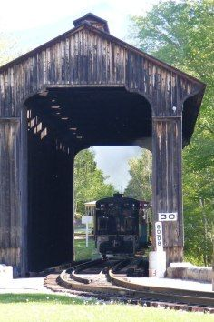 Flume Bridge crosses the Pemigewasset River -Lincoln, NH