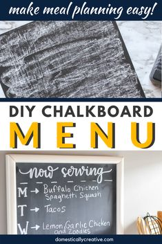 This is such an easy and inexpensive way to creatively display the menu in your kitchen on a chalkboard! This way you won't forget what's for dinner and your family can see what's planned as well. #mealplanning #diyproject #easycraft #chalkboard #menu #dinner #domesticallycreative Make A Chalkboard, Chalkboard Designs, Large Picture Frames, Meal Planner Printable, Dollar Store Christmas, Household Cleaning Tips, Pantry Labels, Cleaners Homemade, Homemaking