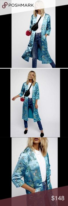 Free People Satin Embroidered Open Kimono Duster S Free People turquoise Satin Floral Embroidered Open Kimono Duster Coat hidden side pockets * side vents * lined New With Tags  *  Size:  Small retail price:  $168.00   60% polyester * 40% nylon   Check out my other items! Be sure to add me to your favorites list! Free People Jackets & Coats