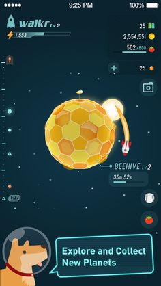 Walkr - Fitness Space Adventure free games for android Walkr : One small step for you. One light-year for Walkr! Hop aboard the fantastic Walkr spaceship Web Design, Game Ui Design, Game Interface, Interface Design, 2d Game Art, Game Gui, Space Games, Game Background, Game Character Design