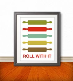 Rolling Pin Print Poster, Mid Century Art, Quote Print, Kitchen Art, Retro - Rolling Pin: Roll With It - 11x14