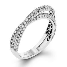 18K White Gold Crossing Diamond Wedding Bands - Fabled Collection