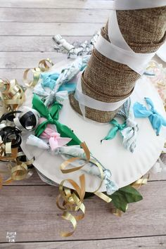 Learn how to make the prettiest bridal shower bow bouquet for the wedding rehearsal with paper plates and these simple steps! This bow bouquet is gorgeous! Wedding Rehearsal Bouquet, Bridal Shower Bouquet, Wedding Pins, Wedding 2015, Wedding Decor, Wedding Stuff, Wedding Ideas, Ribbon Bouquet, Making A Bouquet