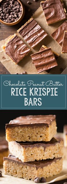 Chocolate Peanut Butter Rice Krispie Bars - Rice Krispie Bars with a caramel base, peanut butter, and a chocolate topping! Something good made even better! | Lovely Little Kitchen