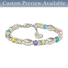 "Birthstone Bracelets for Moms - Beautiful bracelet features up to 6 children's name charms and birthstone beads. Dangling heart-shaped charm is engraved, ""My Family, My Joy"". Silver Earrings, Silver Jewelry, Fine Jewelry, Silver Ring, Craft Jewelry, Silver Bracelets, Gold Jewellery, Mommy Jewelry, Personalized Bracelets"