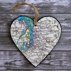 Seattle Map Ornament, Heart Ornament, Chalkboard Ornament, Washington Ornament…