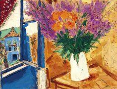 Marc Chagall (1887-1985) / Fleurs près de la fenêtre