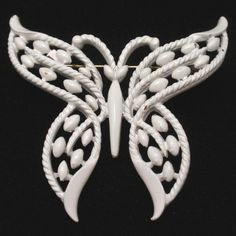 White Butterfly Pin Vintage Trifari Brooch Figural