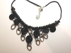 Black & Silver Button Necklace by BornAgainButtons on Etsy, $15.00