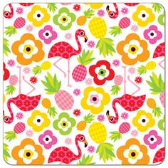 Buy PUL fabric in Flowers and Flamingos print by the yard or cut. Make cloth diapers, snack bags, and more! Made in USA. Waterproof, breathable, food safe, CPSIA compliant.