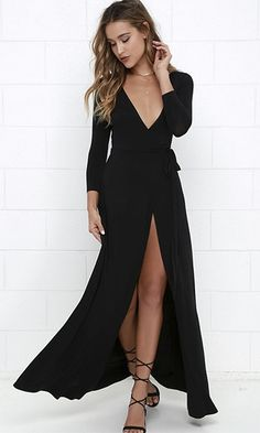 Every Which Way Black 3/4 Sleeve Plunge V Neck Wrap Front Slit Maxi Dress