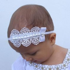 Baby Girl Hair Bows, Flower Girl Headbands, Toddler Headbands, Lace Headbands, Newborn Headbands, Headband Baby, Baby Turban, Girls Bows, Christening Headband