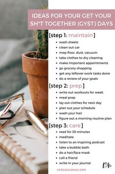 Don't waste time reading article...WAY, WAY, WAY too many ads. Pin pic gives idea of what it's about: how to plan a weekly GYST day for your most productive sunday