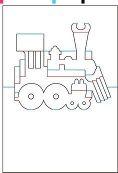 Train pop up card - kirigami Kirigami Templates, Pop Up Card Templates, Origami And Kirigami, Paper Crafts Origami, Pop Out Cards, 3d Cards, Paper Cards, Pop Can Crafts, Card Patterns