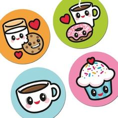 DIGITAL GRAPHIC SHEET 1-inch round KAWAII FOOD graphics for magnets, badges, bottle cap art