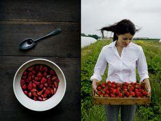 Strawberries in wine with mascarpone cream