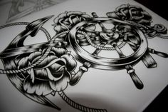 Boat Anchor with Steering Wheel, Rope, & Roses Tattoo Sketch with Shading. The shading could make or break this tattoo so chose your artist wisely!
