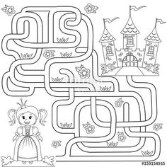 Игры для детей своими руками | ВКонтакте Mazes For Kids Printable, Printable Christmas Coloring Pages, Maze Games For Kids, Math For Kids, Barbie Coloring Pages, Coloring Books, Montessori Activities, Activities For Kids, Maze Worksheet