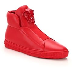Versace Idol Tonal Pallazo Leather High-Top Sneakers : Versace Shoes ($865) ❤ liked on Polyvore featuring men's fashion, men's shoes, men's sneakers, apparel & accessories, cardinal red, mens slipon shoes, mens red shoes, mens woven leather slip-on shoes, versace mens sneakers and mens red high top sneakers