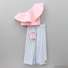 Pre Order: Baby Pink Crop Top with Striped Palazzo Girls Frock Design, Baby Dress Design, Kids Frocks Design, Stylish Dresses For Girls, Kids Outfits Girls, Little Girl Dresses, Kids Dress Wear, Kids Gown, Kids Blouse Designs