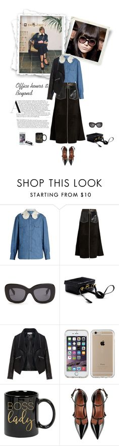 """""""Office Hours & Beyond (2)"""" by dmschar ❤ liked on Polyvore featuring Miu Miu, Edun, CÉLINE, Mark Cross, Zizzi, Speck and RED Valentino"""