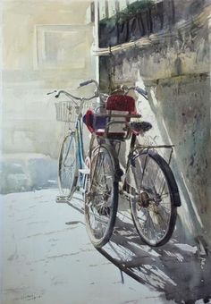 "*Watercolor - ""The Memory Of That Time"" by Li Chao Watercolor Artists, Watercolor Landscape, Watercolour Painting, Painting & Drawing, Watercolours, Bicycle Painting, Bicycle Art, Wow Art, Cycling Art"