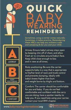 Babywearing safety checklist from Babywearing International. #babywearing #baby