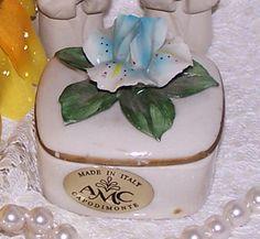 Blue & White Flower Topped Trinket Box by Capodimonte, Italy Spring Garden Vintage Mid Centuy 1940s Italian Designer Vanity Pin Dish Gift