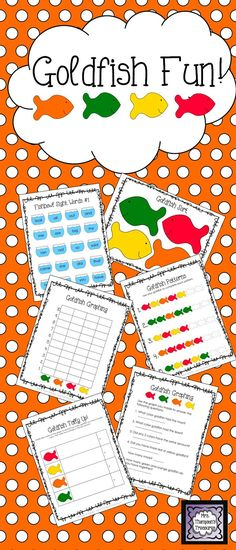 Goldfish Fun Activity Pack - Students love using food to practice skills! This pack gives you some great activities and ideas using colored Goldfish crackers. Sorting Mat, Tally Chart, Graphing & Questions, Pattern Practice, Sight Words Activity, Art Ideas $