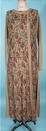 "Printed brown silk knit day dress, American, c. 1920's. Label: ""Famous Fain Knitting Mills, New York-Brooklyn"""